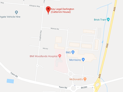 Google map displaying Key Legal Catterick House Darlington